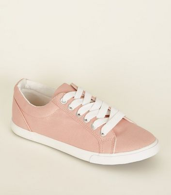 Teens Light Coral Canvas Lace Up Trainers
