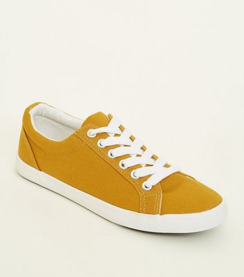 Girls Yellow Canvas Lace Up Trainers