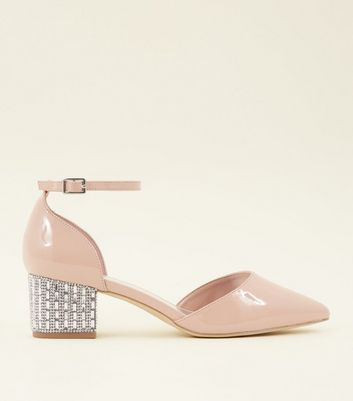 Wide Fit Nude Patent Diamanté Embellished Block Heels by New Look