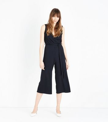 Black Ribbed Sleeveless Jersey Culotte Jumpsuit