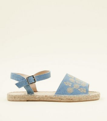 Girls Blue Embroidered Peep Toe Espadrilles