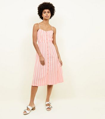 Coral Stripe Linen-Look Button Up Midi Dress