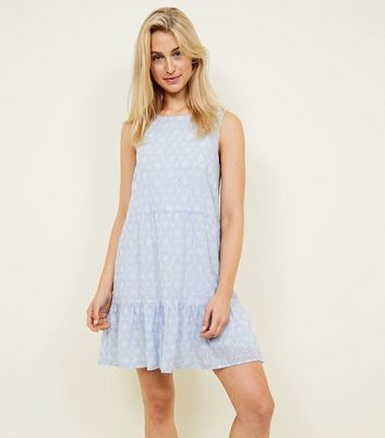 Pale Blue Broderie Sleeveless Smock Dress