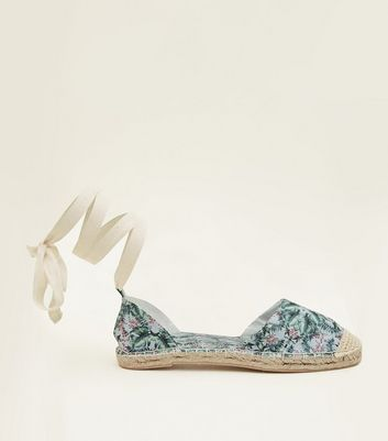 Blue Canvas Tropical Print Ankle Tie Espadrilles