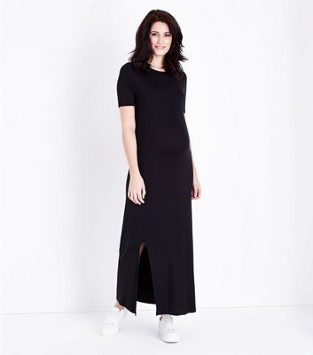 Maternity Black Side Split Jersey Maxi Dress