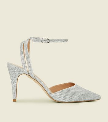 Silver Glitter Two Part Pointed Stiletto Heels by New Look
