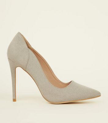 Grey Suedette Scallop Edge Court Shoes