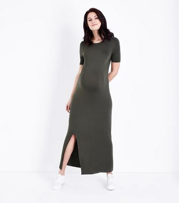 Maternity Khaki Side Split Jersey Maxi Dress