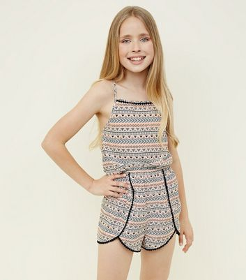 Girls Black Aztec Print Beach Playsuit