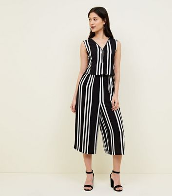 Petite Black Zip Front Stripe Jumpsuit by New Look