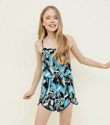 Teens Black Tropical Print Beach Playsuit