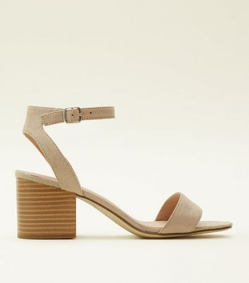 Light Brown Suedette Square Toe Heeled Sandals