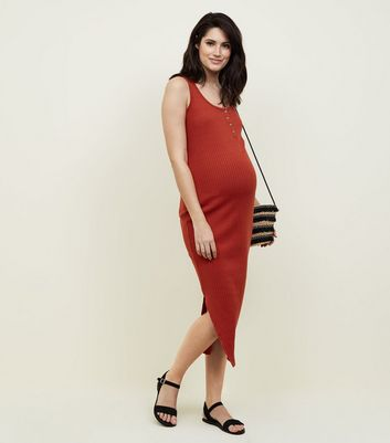 Maternity Red Ribbed Jersey Sleeveless Maxi Dress