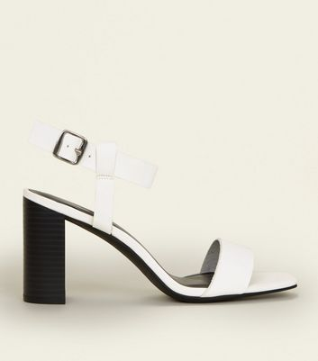 White Monochrome Leather-Look Square Toe Block Heels