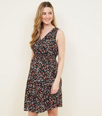 Maternity Black Ditsy Floral Shirred Waist Dress