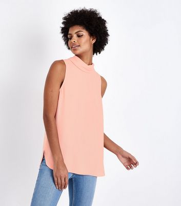 Coral Roll Neck Sleeveless Top