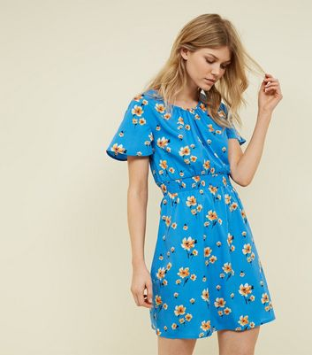 Petite Blue Floral Shirred Waist Mini Dress