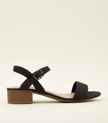 Black Leather Look Low Block Heel Sandals by New Look