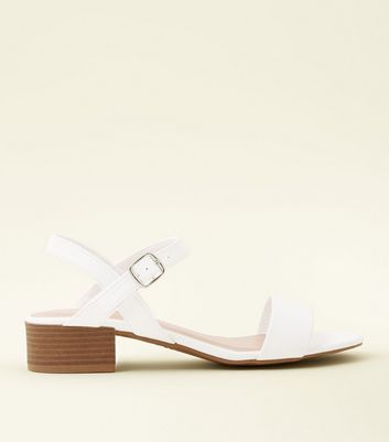 White Leather-Look Low Block Heel Sandals