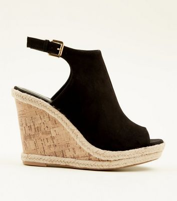 Black Suedette Slingback Peep Toe Cork Wedges