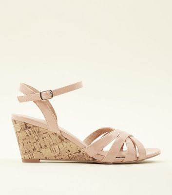 Nude Patent Low Cork Wedge Sandals