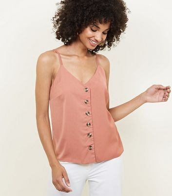 Rust Button Front Cami