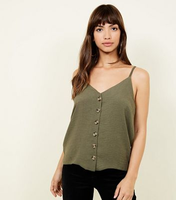 Khaki Button Front Cami