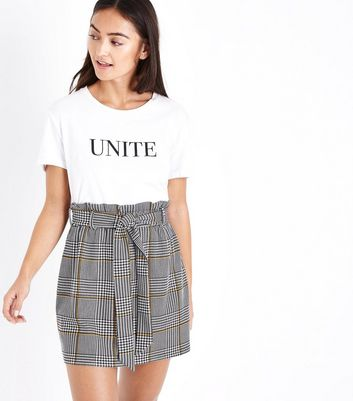 Petite Black Check Paperbag Waist Skirt