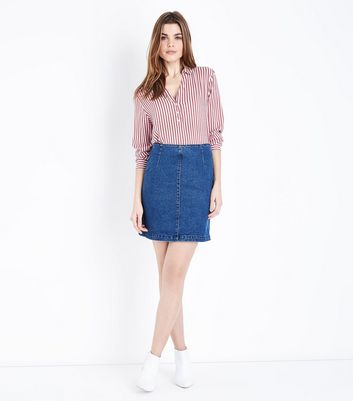 Blue Zip Back Denim Mini Skirt