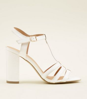 White Leather-Look T-Bar Gladiator Block Heels