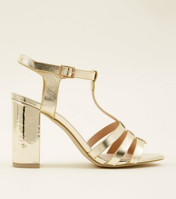 Gold Metallic T-Bar Gladiator Block Heels
