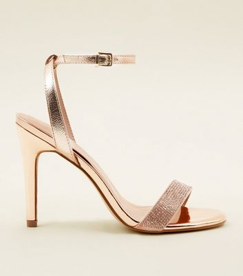 Rose Gold Diamanté Strap Stiletto Sandals
