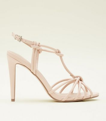 Nude Leather-Look Knot Strap Stiletto Sandals
