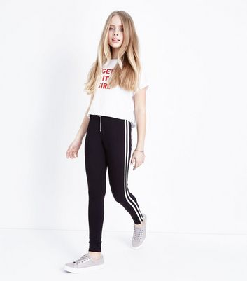 Teens Black Side Stripe Ring Zip Leggings