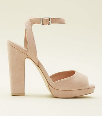 Cream Suedette Square Peep Toe Platform Sandals