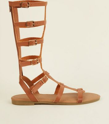 Tan High Leg Gladiator Sandals