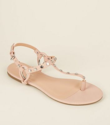 Nude Studded Strap Flat Sandals