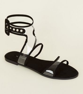 Black Perspex Style Ankle Strap Flat Sandals