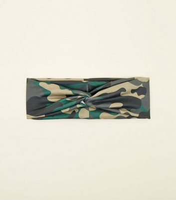 Green Camo Print Twist Knot Headband