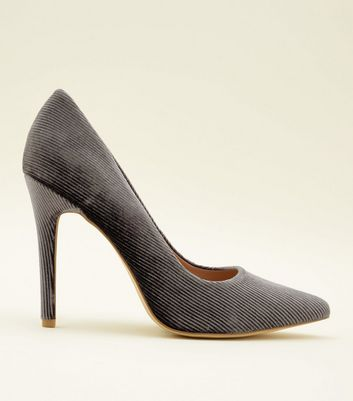 Grey Corduroy Pointed Court Heels