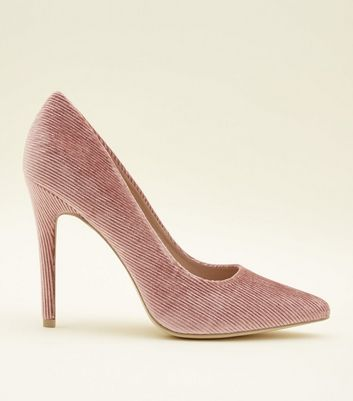 ... Mid Pink Corduroy Pointed Court Heels