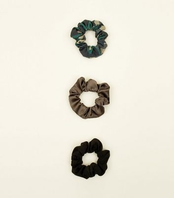 3 Pack Green Camo and Brown Scrunchies