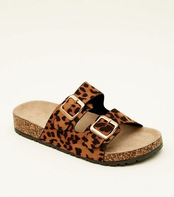 Tan Leopard Print Double Buckle Footbed Sandals