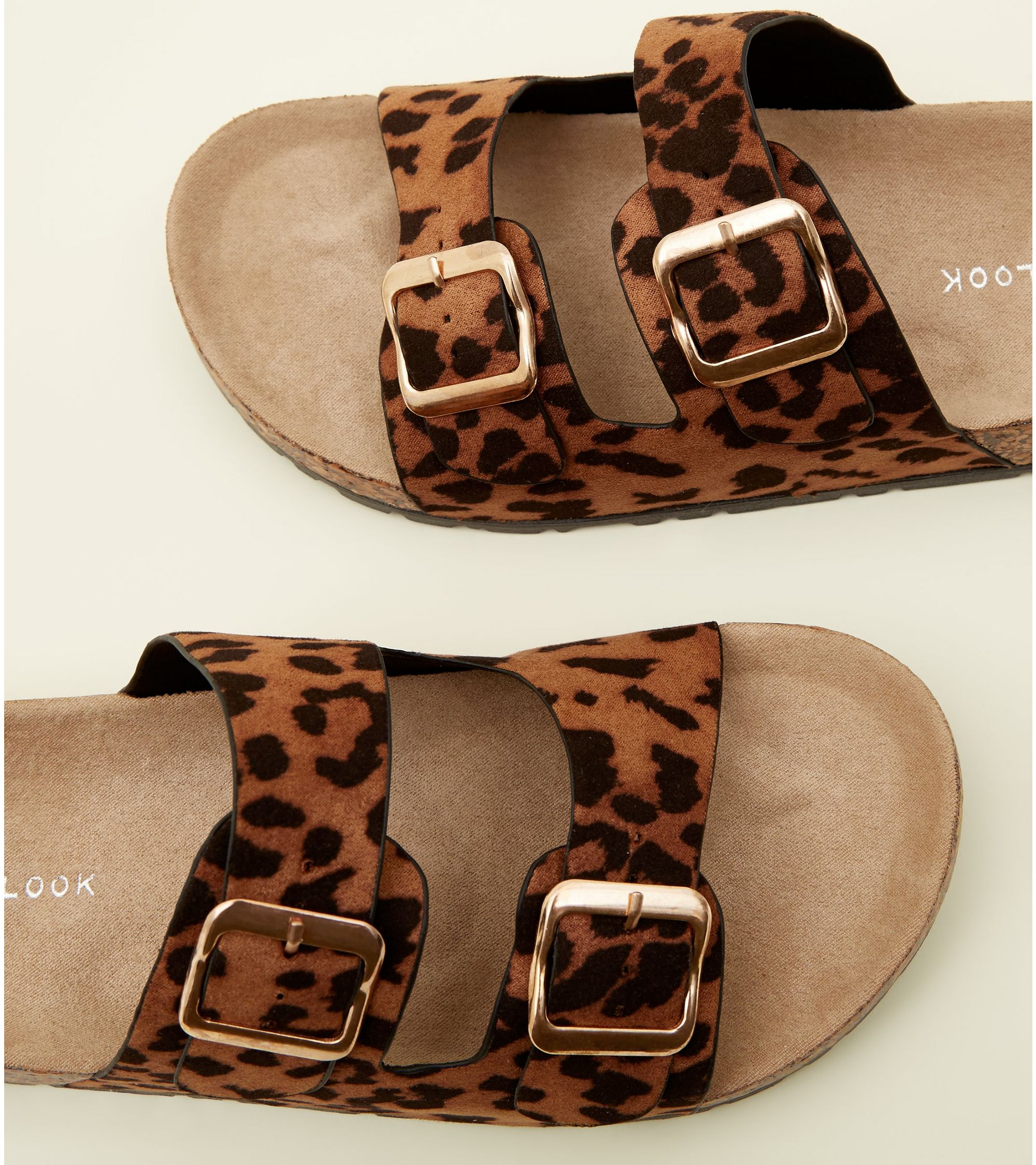 8510ae97fc95 New Look Tan Leopard Print Double Buckle Footbed Sandals at £12.99 ...