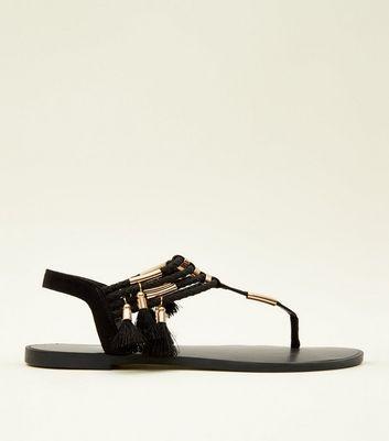 Black Metal And Tassel Trim Flat Sandals by New Look