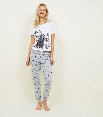 White Slogan French Bulldog Pyjama Set