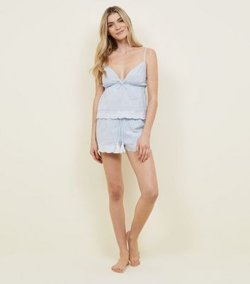 Pale Blue Stripe Cami and Shorts Pyjama Set