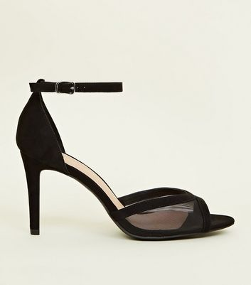 Wide Fit Black Suedette Mesh Peep Toe Stilettos by New Look