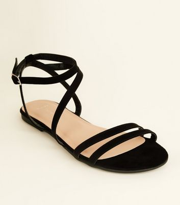 Wide Fit Black Suedette Asymmetric Strap Sandals
