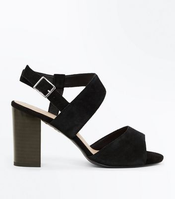 Wide Fit Black Comfort Flex Suede Asymmetric Strap Sandals